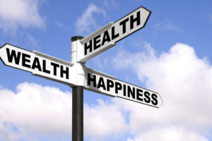Health Wealth Happiness signpost|Rueda-de-la-vida
